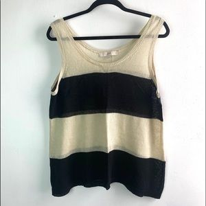LOFT• Linen blend knit stripe tank top